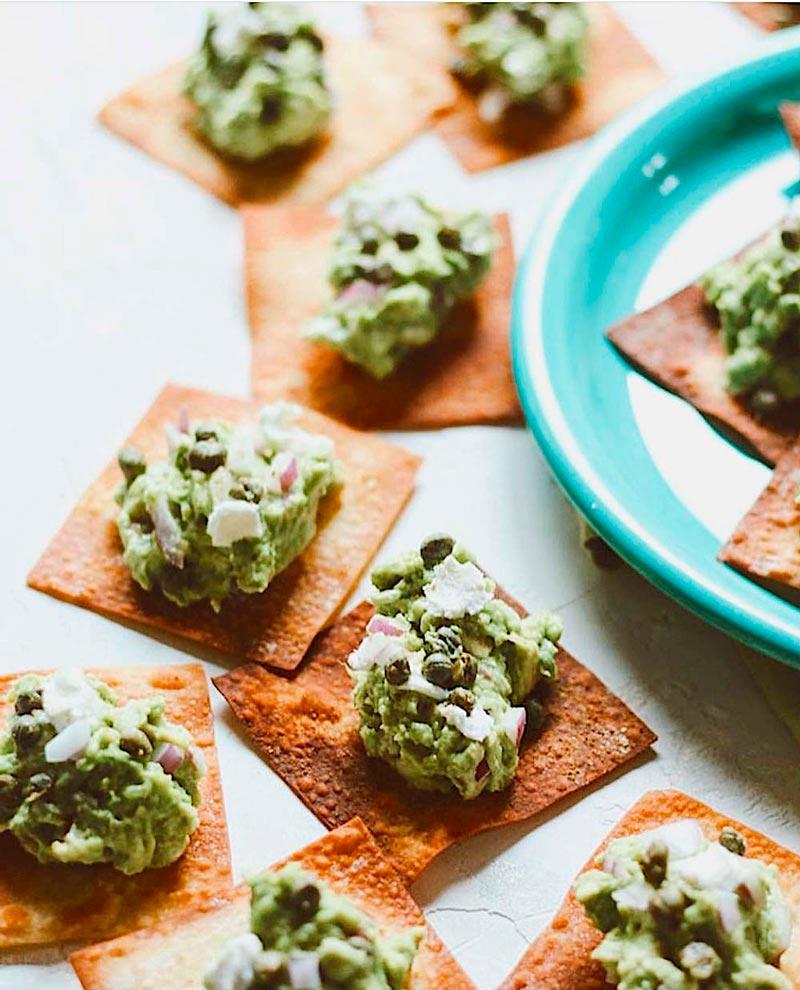 crackers con guacamole navidad keto
